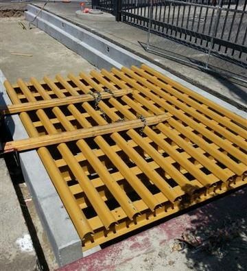Cattle Guard Installed on Concrete Piers