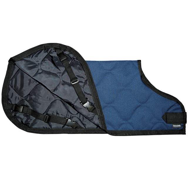 Blue Quilted Calf Jacket-Small