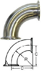90-Degree Elbow (Clamp/Clamp)--1.5""