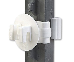 White T-Post Insulator--pkg/25