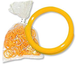 "Yellow Poultry Bands--9/16"" ID--Pkg/50"