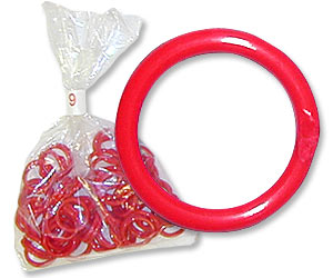 "Red Poultry Bands--9/16"" ID--Pkg/50"