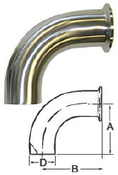 90-Degree Sweep Ell (Weld/Clamp)--2.5""