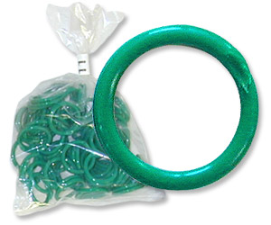 "Green Poultry Bands--11/16"" ID--Pkg/50"