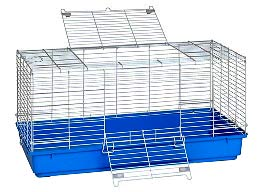Blue Plastic Bottom Rabbit Cage--Large