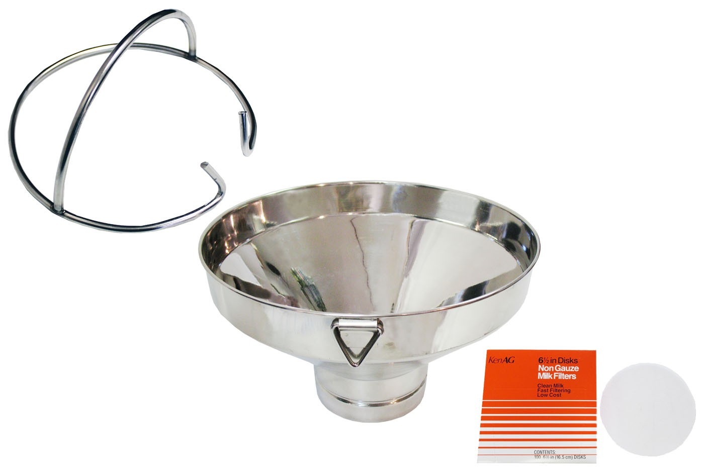 Stainless Steel Milk Strainer - FREE 100 KenAg Filter Disks!