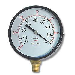 Bottom Mount Vacuum Gauge w/ 0-30 In/KPA--Painted