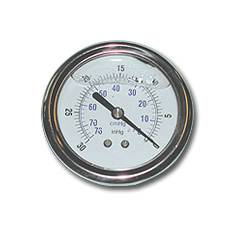 Glycerine Back-Mount Vacuum Gauge w/ 0-30 In/KPA