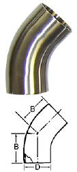 45-Degree Bend (Weld/Weld)--4""