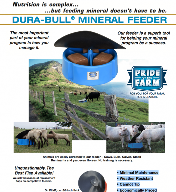 Dura-Bull Mineral Feeder Mineral Feeder with Slotted Flap and Insect-a-Sock Kit - Pride of the Farm