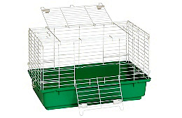Green Plastic Bottom Rabbit Cage--Small